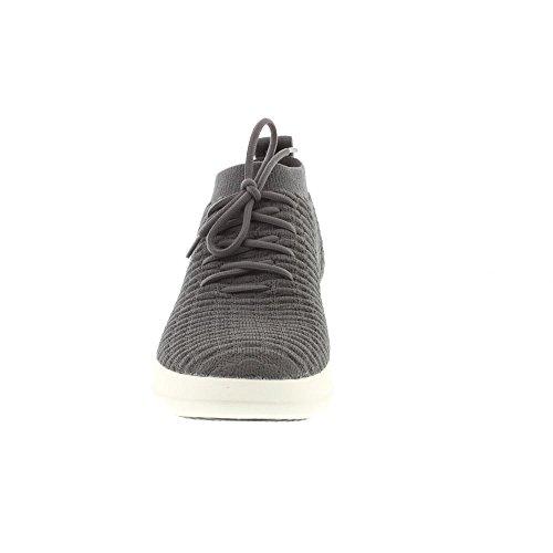 FitFlop Womens Uberknit Slip On High Top Sneaker in Waffle - Black Grey