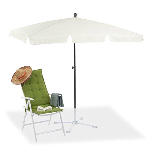 Relaxdays Sonnenschirm rechteckig, 200 x 120 cm Strandschirm, höhenverstellbarer Gartenschirm m....