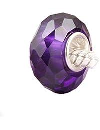 Andante-Stones - Original, Plata de Ley 925 sólida Cuenta Pulida con una circonia púrpura, Elemento Bola para Cuentas European Beads + Saco de Organza