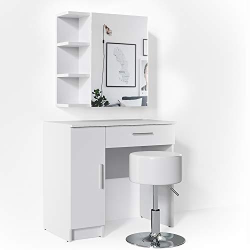 Vicco Schminktisch Fynnia Weiß mit Hocker Kosmetiktisch Frisierkommode Frisiertisch Spiegel +++ MIT AUFKLAPPBAREN SPIEGELSCHRANK +++