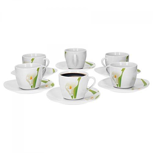 6er Set Kaffeetasse mit Kaffeeuntertasse Calla