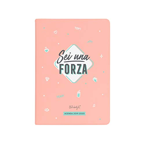 Mr. Wonderful Agenda Classica Piccola giornaliera 2019-2020, Multicolore, Dimensioni: 12,6 x 17,4 x 2,5 cm