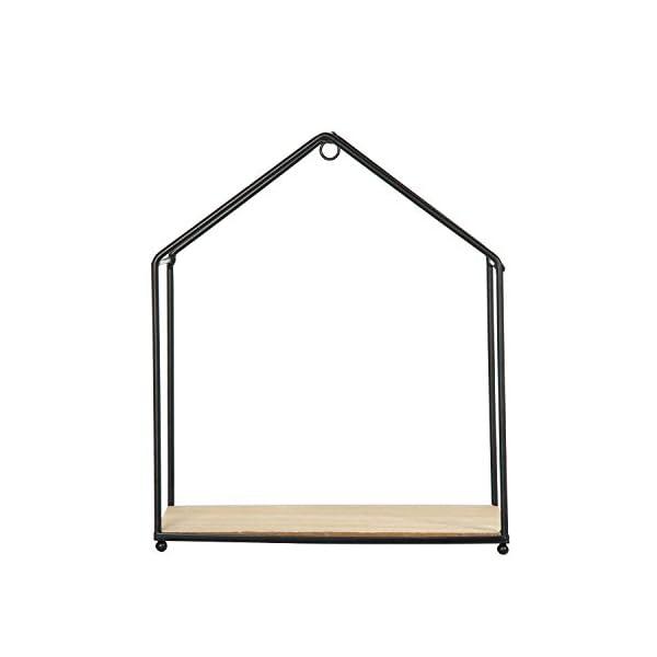The Home Deco Factory Hd4572 Set De 3 Etageres Forme Maison Bois Metal Beige Noir 23x27x13 Cm