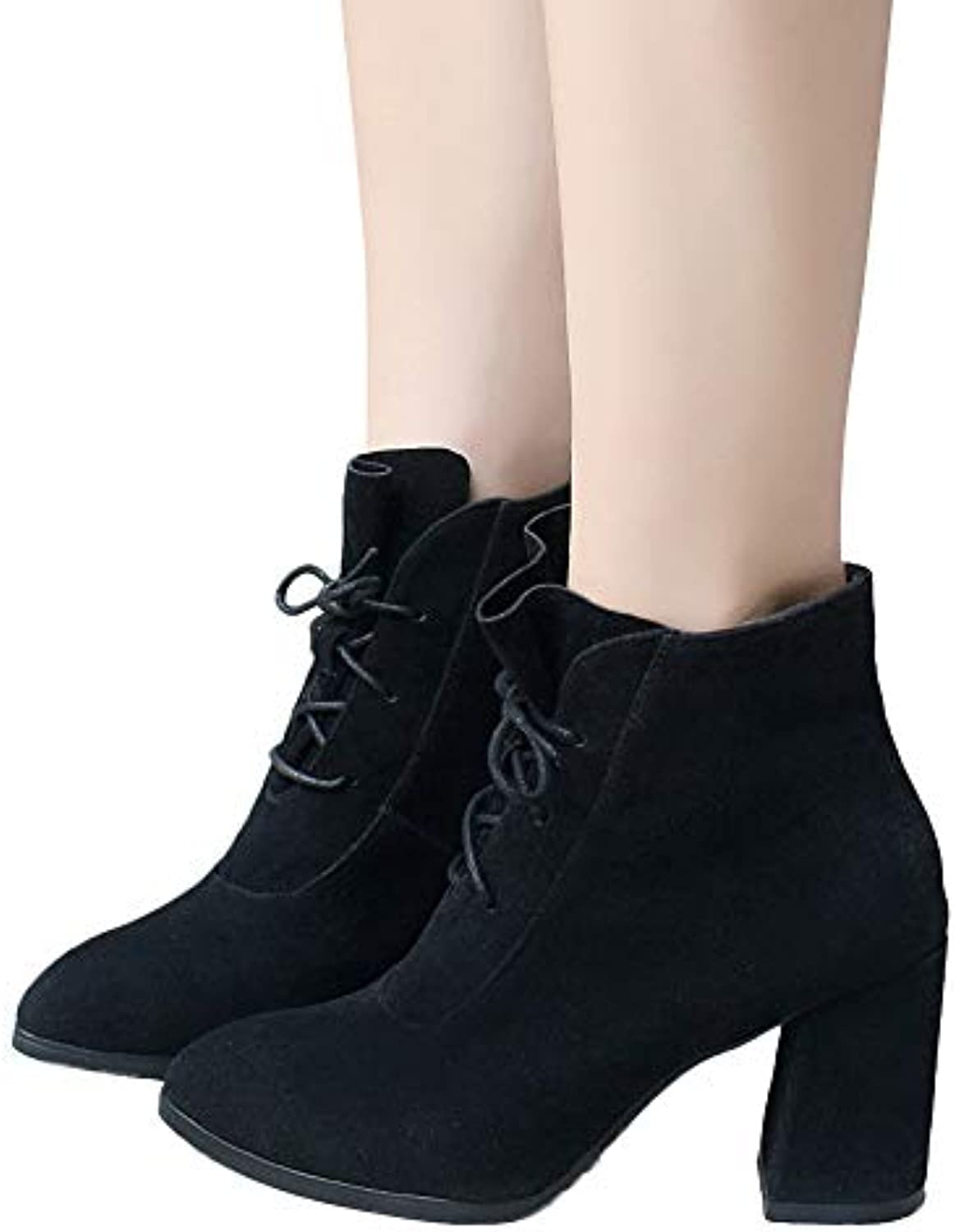 32af9a3e4b333 Women Pointed Toe High Boot Heel 30207 Shoes 35-43 Solid Color Suede Martin  Boots Boot 35-43 Khaki Black Shoes Parent B07HJX1P4H 04f72ef