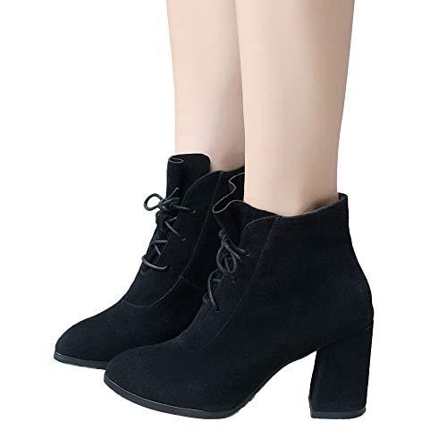 MYMYG Frauen Damen Ankle Boots Spitzschuh High Heel Schuhe Volltonfarbe Wildleder Martin Stiefel Schnürstiefel Elegant Dicke Absatz High Heels Spitz Lace Up Schuhe Booties