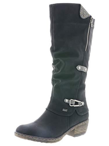 Rieker Femme Bottes, Boots 93752, Dame Bottes d'hiver, Bottes à Tige Longue,doublées,Chaudes,imperméables,Schwarz,39 EU / 6 UK