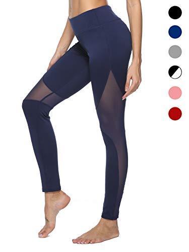 dh Garment Leggings Damen Sport High Waist Leggins Lang mit Mesh Yoga Pants Training Fitness Tights Laufhose Sporthose mit Tasche,Blickdicht -