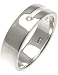 White Ice London Silver Ring with Diamonds DR009 Cushion Ring Band with Diamond