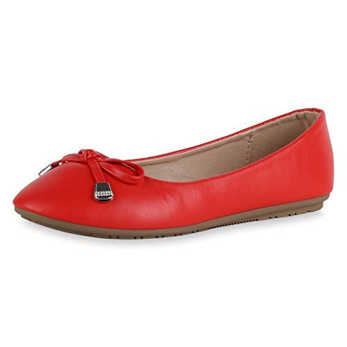 SCARPE VITA Damen Klassische Ballerinas Leder-Optik Schuhe Slip On Flats Strass Schleife Freizeitschuhe Slipper 183147 Rot Schleifen 39 Leder-schuhe, Slip-ons