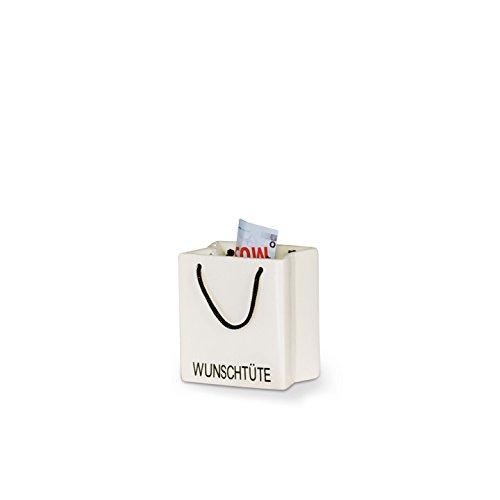 Spardose Wunschtüte aus Porzellan in weiss glasiert 9 x 8 x 5 cm Casablanca Nr 96432