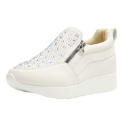 Toamen Donna Cuneo Caviglia Mocassini Sneaker Scarpe Lato Cerniera, Le Signore Strass Non-Scivolare Gregge Romano Camuffare Casuale S