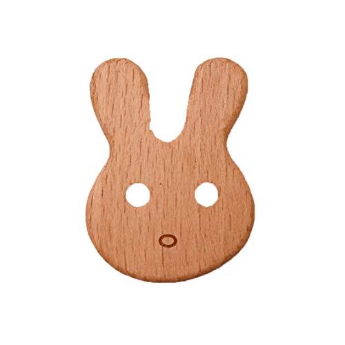 Idiytip Baby Holz Beißring Tiere Geformte Kinderkrankheiten Perle Natürliche DIY Kautable Armband Kinderspielzeug, Bunny