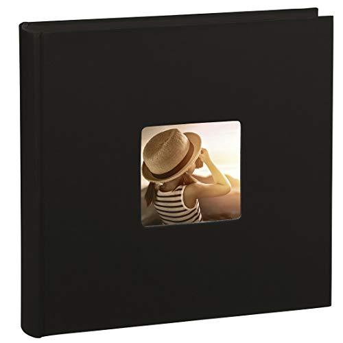 Hama Jumbo Fotoalbum Fine Art (30 x 30 cm, 100 schwarze Seiten, 50 Blatt, Fotobuch mit Ausschnitt für Bildeinschub) Album schwarz