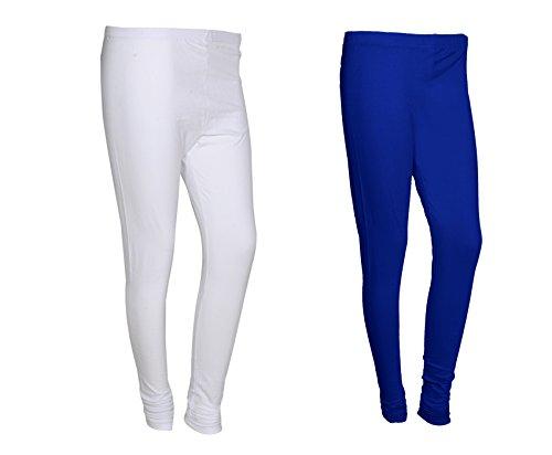 IndiWeaves Women Solid Chudidar Cotton Lycra Leggings (Pack Of-2)_71025-31-P2-Blue::White _Free Size