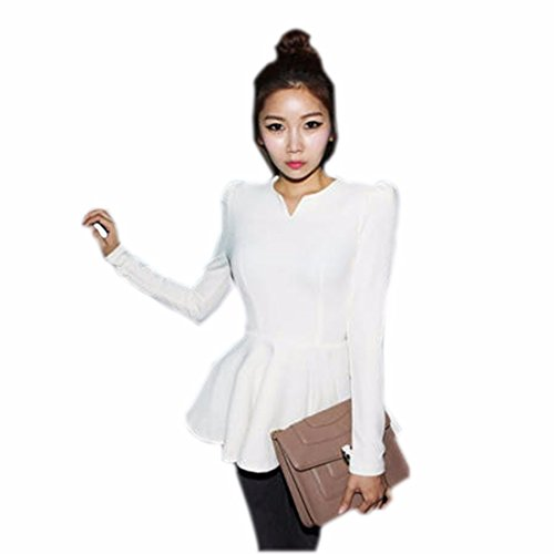 New Womens Long Sleeve Flouncing Sexy duenne duenne Taille uebersteigt Blusen T Shirt Weiß