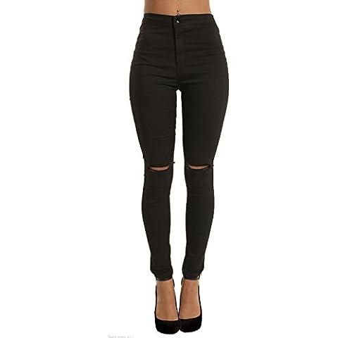 Yidarton Donna Ginocchio Strappato Sexy Skinny Jeans Delle Donne Pantaloni A Vita Alta Legging
