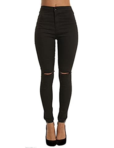 Femmes Pantalons Cigare Bootcut Taille Haute Troué Elastique Jeans Fluide Collant (Small, Noir)