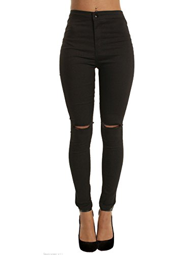 Flying Rabbit Damen Cropped Leggings Cropped Jeans Leggins zerrissen Jeans Hose Stretch Skinny Löcher High Waist Pants Trousers Hose (Small, Schwarz) -