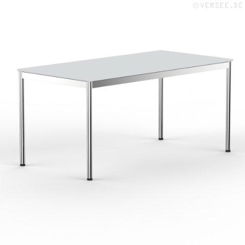 Versee system8x Schreibtisch Konferenztisch Metall Edelstahl poliert (Chrom-Glanz Effekt) 160 x 80 cm lichtgrau