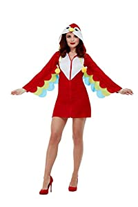 Smiffys 47773L - Disfraz de loro para mujer, talla L, color rojo