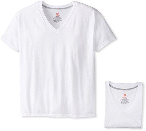 Hanes Ultimate Herren ComfortBlend V-Ausschnitt mit FreshIQ 4er-Pack - Weiß - Small (V-ausschnitt Hanes Unterhemd)