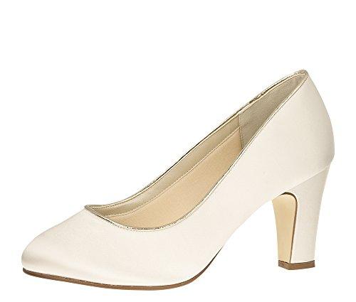 Rainbow Club Brautschuhe Hailey - Pumps High Heels extra weit - Ivory Satin - Gr 40 EU 7 UK Satin-high-heels