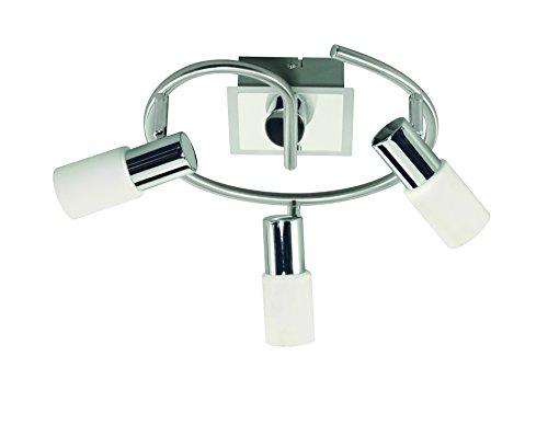 Action Deckenspirale 3-flg, Serie Bas, 3 x, 5 W, Höhe 20 cm, Durchmesser 28 cm, Kelvin 3000, Lumen 400, nickel matt, chrom 967703540000