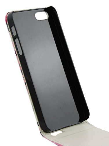 Emartbuy® Apple iPhone SE PU Cuir Flip Case Étui Coque Cover Floral Blanc Rose Floral Rose Rose Flip Case