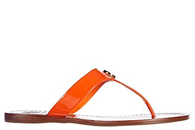 tory burch damen leder flip flops zehentrenner sandalen orangene eu 38 12138347. Black Bedroom Furniture Sets. Home Design Ideas