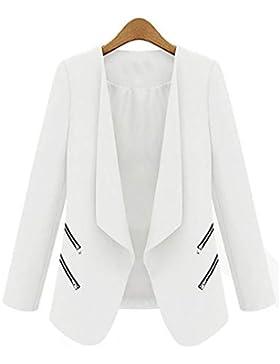 Xmiral Mujeres Chaqueta de Traje de Negocios Blazers Manga Larga Slim Fit Elegante Blázer Negro/Azul/Blanco S-XL