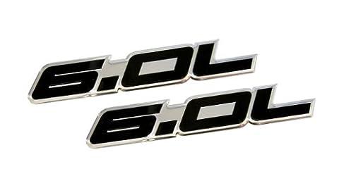 2 x (pair/Set) 6.0L Liter in BLACK on SILVER Highly Polished Aluminum Car Truck Engine Swap Nameplate Badge Logo Emblem for CHEVY TAHOE SUBURBAN GMC VORTEC V8