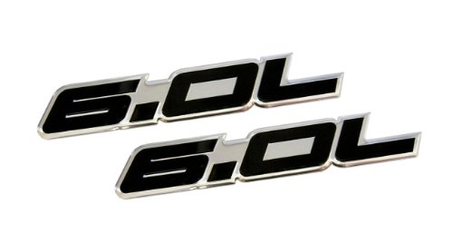 2 x (pair/Set) 6.0L Liter in BLACK on SILVER Highly Polished Aluminum Car Truck Engine Swap Nameplate Badge Logo Emblem for Pontiac GTO LS2 G8 L76 GMC Yukon Sierra Pick Up Chevy Tahoe Suburban Truck GMC Vortec V8 Ford Excursion F250 Diesel F350 Fits other Vehicles (Pontiac Logo-emblem)