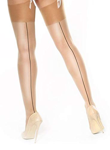 Miss O Seidige Strapse mit Naht-Beige-Large/XL - Damen Sheer Straps Strumpfhose