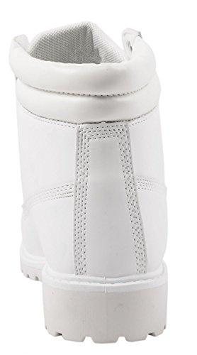 Elara Damen Stiefeletten | Bequeme Worker Boots | Profilsohle Schnürer Weiß