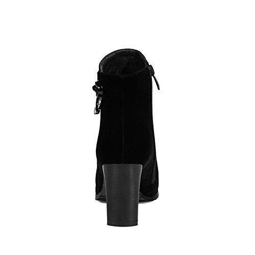 VogueZone009 Damen Niedrig-Spitze Hoher Absatz Spitz Zehe Stiefel mit Wasser Diamanten Schwarz