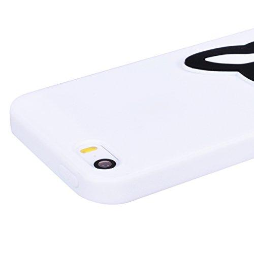 Yokata Cover per iPhone 5S / 5 / SE Silicone Disegni Rigida Case Originale Fantasia Divertenti Caso Custodia gel Gomma TPU Morbido Ultra Slim Impermeabile Antiurto Protettiva Shell + Penna - Giallo An Cane in bianco e nero