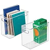 mDesign 2er-Set Aufbewahrungsbox mit integrierten Griffen – für die Aufbewahrung von Küchen-, Badezimmer- oder Büroutensilien – Kunststoffbox für die Schreibtischablage – durchsichtig