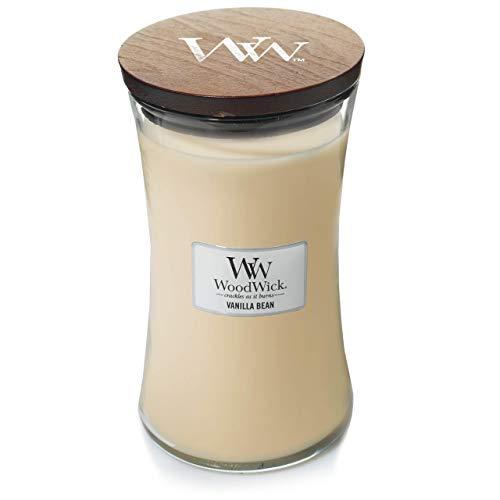 WoodWick vela aromática grande en forma de reloj de arena, grano de vainilla