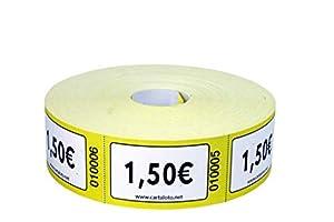 CARTALOTO - Rollo de 1000 Etiquetas con Valor 1,50 € - Amarillo, BITR1501, Multicolor