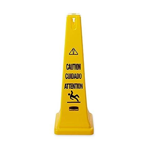 Rubbermaid Commercial Products FG627600YEL Cône de Sécurité avec Mention «Caution/Wet Floor» (Attention, Sol Humide),