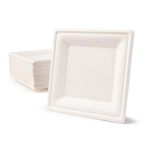 BIOZOYG Vaisselle à Base Bagasse | 50 pièces d'assiettes du Canne de Sucre Blanche carrée décolorée 20x20 cm | Bio jetable Vaisselle, Menu Plats et jetable fête Assiette
