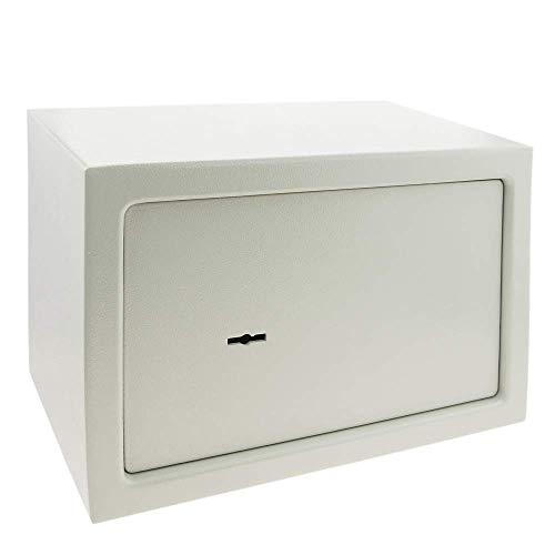 PrimeMatik - Caja Fuerte de Seguridad de Acero y con Llaves 31 x 20 x 20 cm Beige