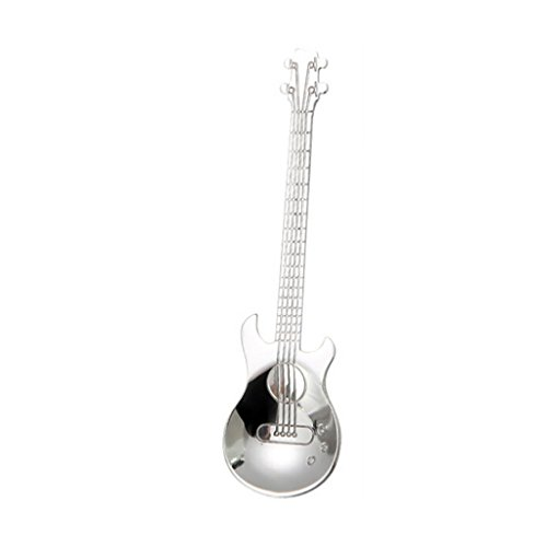 TAOtTAO Stainless Steel Guitar Spoons Rainbow Coffee Tea Spoon Flatware Drinking Tools (Silver)