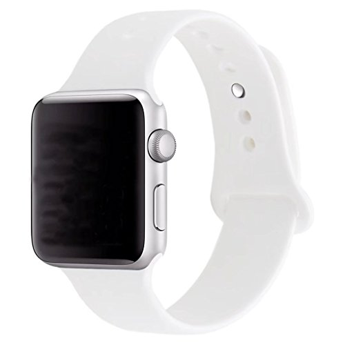 ZRO Smart Watch Correa, Silicona Suave Reemplazo de Banda Sport Band para Apple iWatch Serie 2/ Serie 1 42mm M/L, Blanco