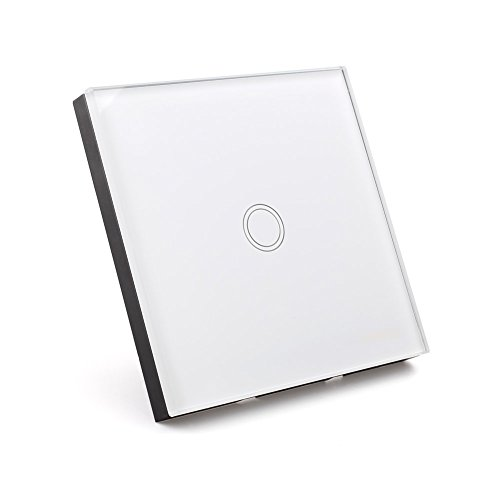 Amzdeal Lichtschalter Glas Touchscreen Wandschalter schalter (1 weg weiß mit Fernbedienung)