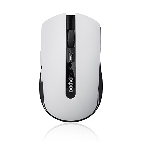 Rapoo 7200P kabellose Maus (5 GHz Wireless, optisch, 1000 DPI umschaltbar, 6 Tasten + 4D Mausrad, Nano-USB für PC, Laptop, iMac, Macbook, Microsoft) weiß