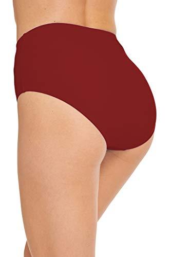 Micosuza Bikinislip Damen Retro Bikinihose Basic Bikini Unterteil Hoher Taille Badehose High Waist Badeshorts (Burgunderfarben, EU 44 = US 16) - 3