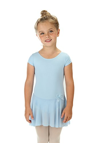 elowel Kinder Mädchen Rüschen Kurz Röcke Ballett Trikot Tanztrikot Gymnastikanzug Turnanzug Trikot (Größe 2-4 Jahre) Hellblau