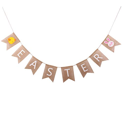 BESTOYARD Ostern Banner Dekorationen Kaninchen Küken Muster Bunting Banner rustikale Leinen Home Party Decor für Ostern Geburtstag Baby Shower Party Supply