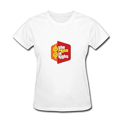 Ashirt Der Preis Art- und Weisefrauen ist recht Fernsehspiel-Show-Baumwollt-Shirts WhiteLarge
